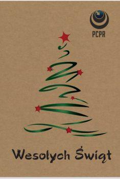 Kartka świąteczna ze znakiem PCPR oraz choinką. Pod choinką znajduje się napis Wesołych Świąt